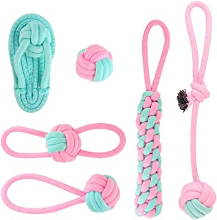 6 Pcs Ausget Dog Teething Toys, Durable Chew Toys Set, Indestructible Pet Toys, Dog Toys for Boredom, Flamingo Pink Cotton...