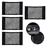 CUGBO 4 Pack Car Storage Net, Universal Black Mesh Trunk Cargo Side Back Seat Organizer, Nylon Stick-on Wall Sticker Pouch Bag Auto Accessories Fit for Fluff Surface (15 inchx 10 inch)