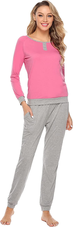 Women Long Sleeve Pajama Set 2 Piece Cotton Pjs Sleepwear Soft Lounge Set with Pants