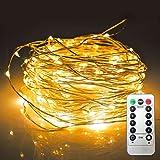 JMEXSUSS Luci stringa LED Filo di rame Fata Luce natalizia con telecomando, 65,6ft / 20M 200 LED, 8 modalità alimentate a batteria, luci a corda per matrimonio, decorazioni per feste