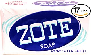 (PACK OF 17 BARS) Zote WHITE Laundry Bar Soap, with Even MORE Whitening Power & Satin Remover. Light Fresh Scent! Safe for delicate clothes! (17 Bars, 14.1oz Each Bar)