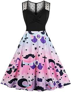 CUCUHAM 💖 Large Size Women Halloween Printed Lace Sleeveless Party Dress Swing Dress