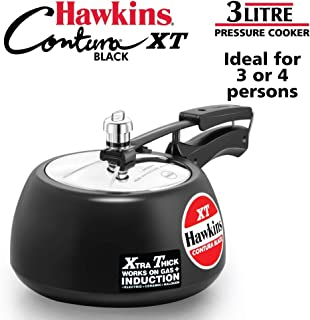 Hawkins CXT30 Contura Hard Anodized Induction Compatible Extra Thick Base Pressure Cooker, Black, 3L, 3 L, (Renewed)
