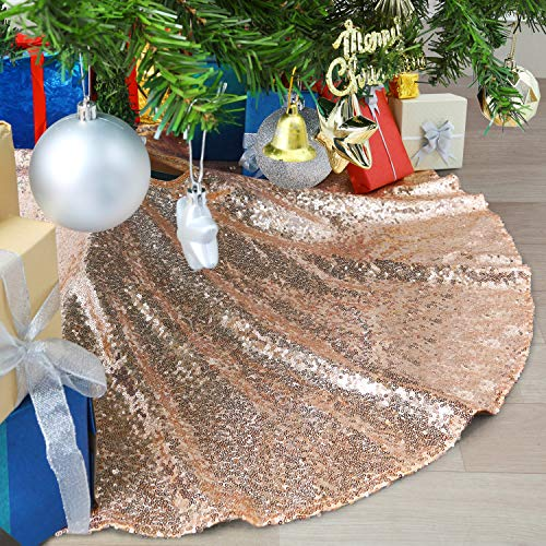 B-COOL 36inch Tree Skirt Sequin Tree Skirt Christmas Rose Gold Tree Skirt Mat for Christmas Holiday Party Decorations
