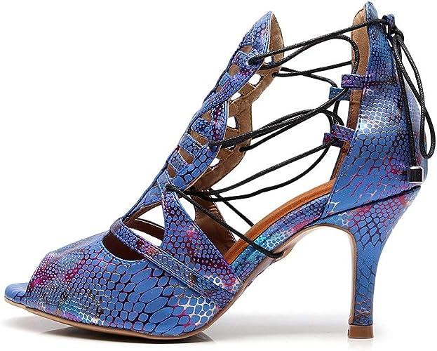 JHDPH3 Chaussures De Danse pour Femmes Intérieur Anti-dérapant Haute Qualité PU Compétition Débutant Réglable Talons Hauts Peut être Utilisé Toute L'année (Couleur   bleu, Taille   US9.5-0 EU41 UK7.5-8)