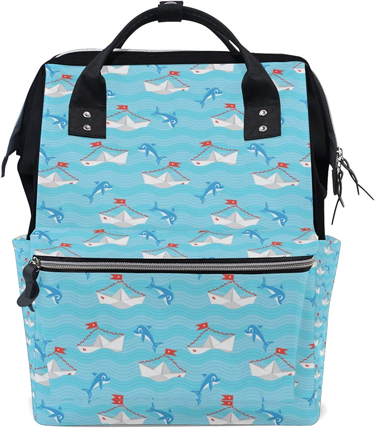Dolphin Pop Dance Charm Leisure College Backpack Light Travel Male and Female Student Backpack Lightweight Canvas Backpack Medium Handbag Fashion Style Multifunction
