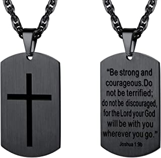 PROSTEEL Stainless Steel Cross Jewelry, Mens Womens Jewelry, Dog Tags Pendant, Military Tag with Words, Inspirational Necklace