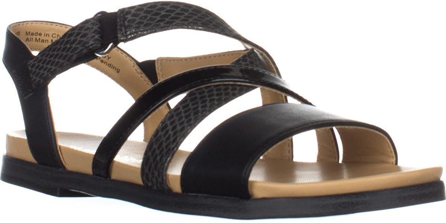 Naturalizer Kandy Flat Strappy Sandals, Black, 7 US   37 EU