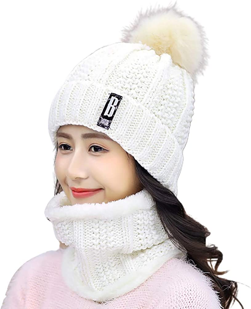 Winter Women Thick Knitted Beanie Hat Plush Neck Gaiter Scarf Outdoor Riding Set for Winter Outdoor Sports GYMNASTIKA Winter Beanie Hat Scarf Set