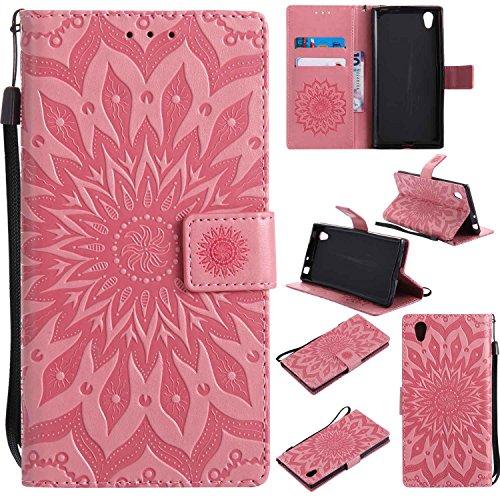 pinlu Flip Funda de Cuero para Sony Xperia E6/L1 Carcasa con Función de Stent y Ranuras con Patrón de Girasol Cover (Rosa)