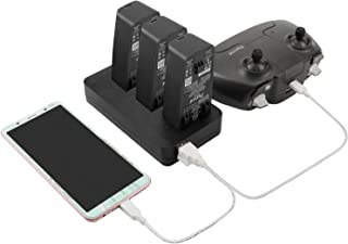Anbee Multifunctional Battery Charger Hub Compatible with Parrot Anafi Drone, Home Charger & Car Charger 2-in-1