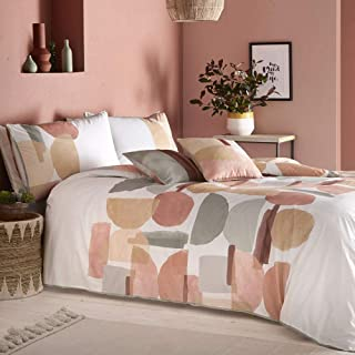 Appletree Duval 180 Thread Count 100% Cotton Percale Duvet Cover Set, Coral, Double