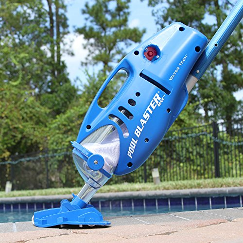 "Pool Blaster Max Cordless Rechargeable, Battery-Powered, Pool-Cleaner with 10.5"" Scrub Brush Head, Large Filter Bag, Ideal for In-Ground Pool and Above Ground Pools for Leaves, Dirt and Sand"