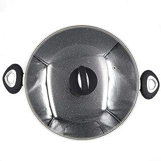 DGDHSIKG Olla de sopa Salsa de recubrimiento de puntos de granito Ollas de caldo con tapa de vidrio Olla de sopa de calor rápido Utensilios de cocina de alto grado, con tapa, 4,5L 24cm