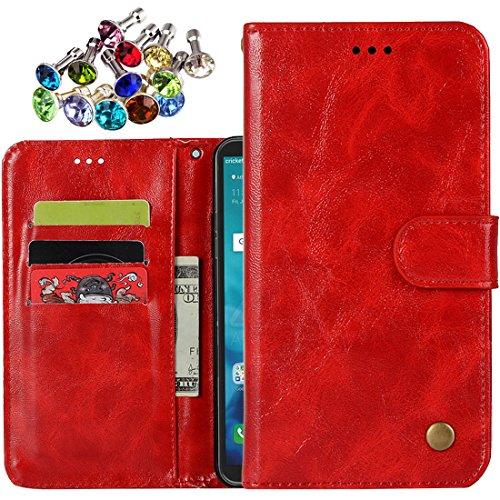 Laybomo Funda para Sony Xperia XA2 Ultra Carcasa Bolsa Tapa Cuero Avec Fente pour Carte Billetera Magnética Protector Silicona Suave TPU Flip Cover Funda para Sony Xperia XA2 Ultra, Serie Retro (Rojo)