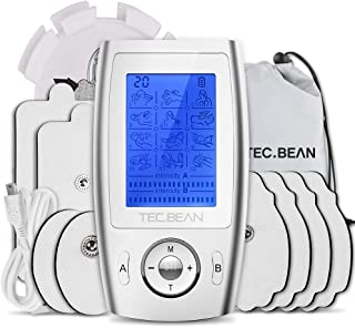 TEC.BEAN Dual Channel TENS Unit with 8 Electrode Pads, Rechargeable Muscle Stimulator TENS Machine Mini Massager for Pain Relief