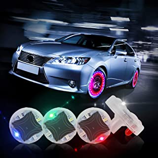 CARLITS Car Tire Wheel Lights,  4pcs Car Wheel Tire Air Valve,  Hub Lamp Cap Light with Motion Sensors Colorful LED Tire Light Gas Nozzle, for Car Bicycle Motorcycles Accessories