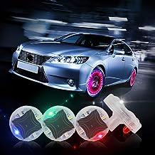 چراغ های چرخ تایر CARLITS ، شیر 4 لیتری چرخ اتومبیل سوپاپ هوا ، لامپ هاب توپی با سنسورهای حرکت چراغ رنگی ، نازل گاز تایر ، برای لوازم جانبی موتور سیکلت دوچرخه