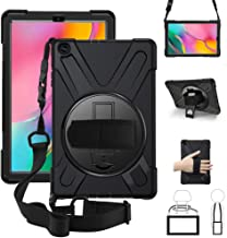 ZenRich Galaxy Tab A 10.1 2019 Case, 360 Degree Rotatable Kickstand,Hand Strap and Shoulder Strap case, 3 Layer Hybrid Heavy Duty Shockproof case for Samsung Galaxy Tab A 10.1