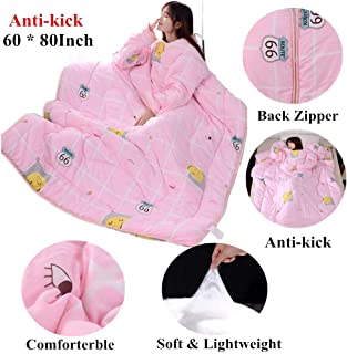 All Season Lazy Quilt Blanket for Summer Spring Watching TV Wearable Blanket with Sleeve Zipper Bed Comforter 3.5lb Machine Washable Pink