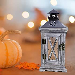 BEYST Wooden & Metal Candle Lantern Hurricane Lamp, Rustic Country Style Tea Light Holder Hanging Shabby Storm Lanterns for Garden Wedding Decoration