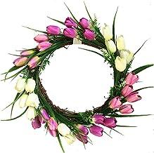 CLISPEED Simulation Hanging Tulip Garland Flowers Wreath Decoration for Wall Door Showcase Christmas Garland Wreath