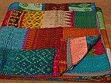 Tribal Asian Textiles Colcha de seda reversible hecha a mano india de la patola de la vendimia de la manta de Kantha Queen, colcha Kantha de varios colores, colcha Kantha Rallies, colcha india de sari, manta de Kantha de seda hecha a mano, manta de Kantha, 200 x 308 cm