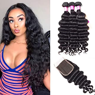 Loose Deep Wave Bundles with Closure Human Hair Loose Deep Curly with Closure Brazilian Virgin Hair with Closure 4x4 Inch Natural Color Can Be Dyed and Bleached (22 24 26 with 20 Closure)