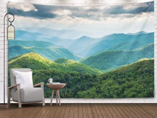 Shorping Tapestry Wall Hanging,Wall Tapestry, 80x60Inches Home Art of Cotton for Décor Living Room Dorm Carolina Great Smoky Mountain Scenic Landscape with Light Rays and Spring Greens