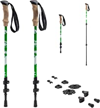 TNH Outdoors Trekking Poles - Lightweight, Aluminum Hiking, Walking & Running Sticks with Natural Cork Grips, Quick Locks, 4 Season/All Terrain Accessories and Carry Bag