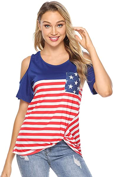 Staron Womens American Flag Tank Top 4th July T Shirt USA Flag Casual Cold Shoulder Tops Shirts Blouse