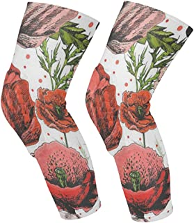 Knee Sleeve Bright Colorful Poppies Full Leg Brace Compression Long Sleeves Pads Socks for Meniscus Tear, Arthritis, Running, Workout, Basketball, Sports, Men and Women 1 Pair