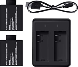 Campark 2 x 1050mAh Rechargeable Action Camera Battery with USB Dual Charger Compatible with Action Camera ACT74/ACT76/X20...