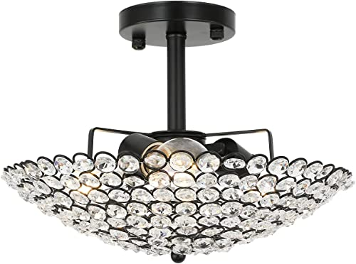 popular 3-Light Modern Crystal Chandelier Ceiling Light, 12.6 Inch Semi discount Flush Mount Black Ceiling Light, Suitable for Hallway Bedroom Living Room Kitchen, outlet sale Bulbs Not Included. sale