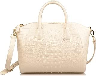 Women's Crocodile Embossed Genuine Leather Purse Top Handle Handbags Totes Shoulder Bags