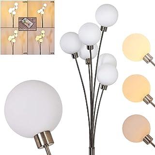 Lampadaire Bernado en métal, nickel mat et verre blanc - Luminaire pour 6 ampoules G9 idéal dans un salon - chambre à couc...