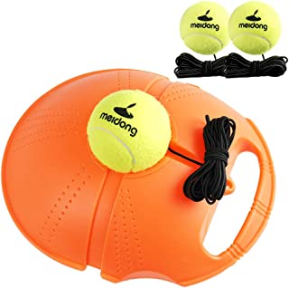 Meidong Tennis Trainer Rebound Baseboard with 3 Long Rope Balls Great for Singles Training, Self-Study Practice, Tennis Training Tools for Kids Adults Beginners (Orange)