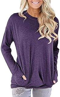 GUOCAI Women Pockets Round Neck Long Sleeve Pullover Blouse Tops T-Shirt