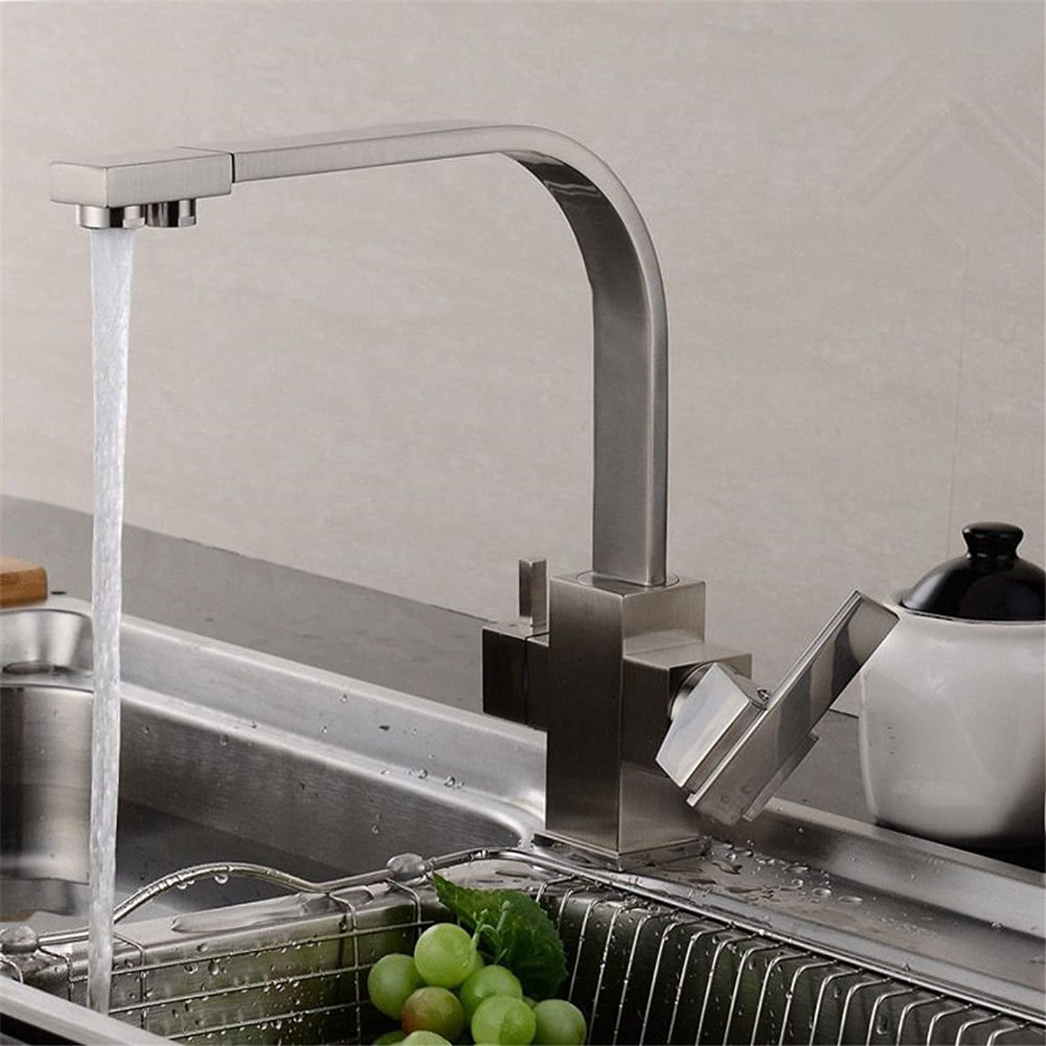 NewBorn Faucet Kitchen Or Bathroom Sink Mixer Tap The Brass Chrome 2-Hole Courseredation Sink Cold Water Water Tap Water Tap D