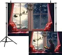 Allenjoy 7x5ft Christmas Backdrop Winter Snowflake Pillow Window Sill Moon Reindeer Santa Garland Wreath Holiday Family Party Kids Photography Background Decoration Photo Studio Props
