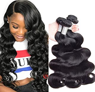 [Tangle Free] Brazilian Body Wave Virgin Hair 14 16 18 Inches, Premium 10A,100% Unprocessed Human Hair Weave, Long Lasting Brazilian Virgin Hair Body Wave Hair 3 Bundles (300g/ 10.5ozs, Natural Color)