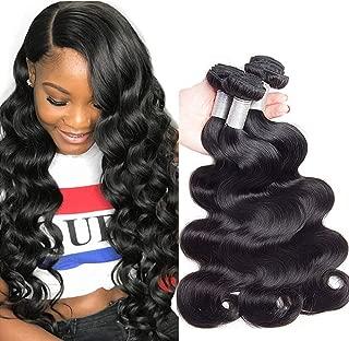 [No Tangle] Brazilian Virgin Hair Body Wave 12 14 16 Inches (300g/ 10.5ozs) Premium 10A, 100% Unprocessed Brazilian Body Wave Virgin Human Hair Weave, Full, Soft Body Wave Hair Bundles, Natural Color
