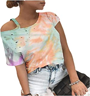 HEFASDM Womens Summer Blouse Hole Tie-Dye Short Sleeves One Shoulder Tees Top