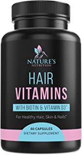 Hair Skin and Nails Vitamins - Extra Strength Hair Multivitamin with Biotin, Vitamin D, Vitamin B12 - Made in USA - Suppor...