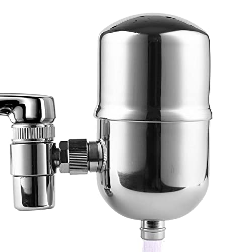 Engdenton Faucet Water Filter Stainless-Steel Reduce Chlorine High Water Flow, Water Purifier with Ultra Adsorptive Material , Water Filters for Faucets-Fits Standard Faucets