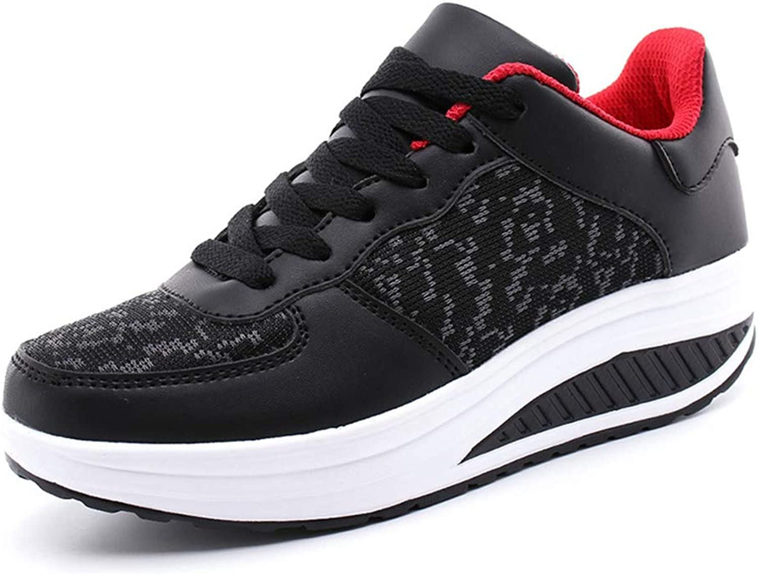 Hoxekle PU and Mesh Casual Swing Breathable Wedges Platform shoes Women Ladies Trainers Sneakers Lace Up Runing shoes