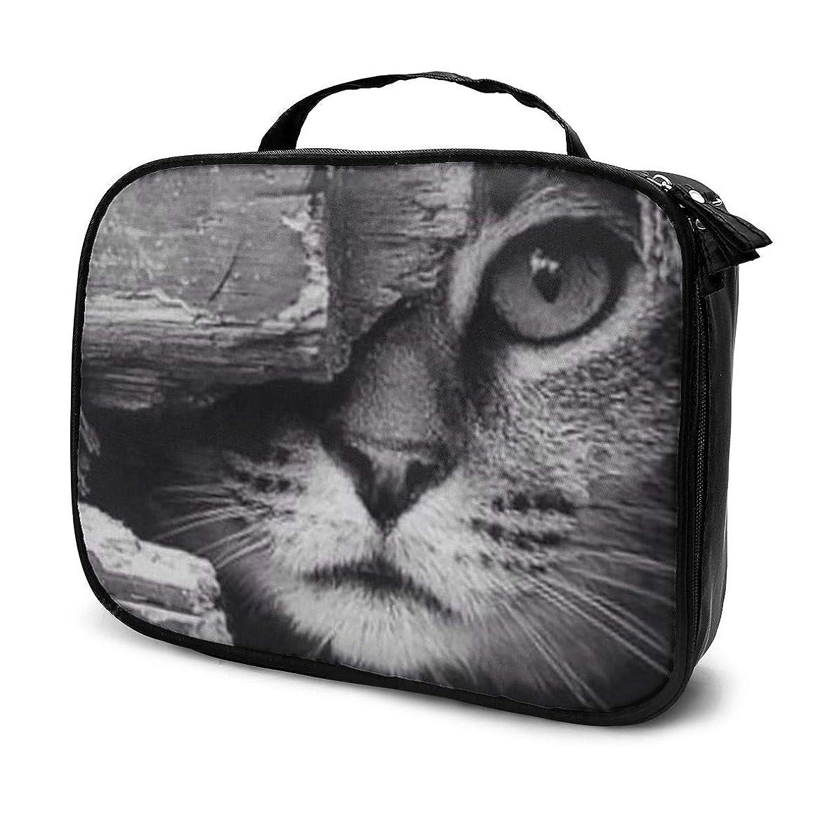 思いやり穀物なめらかなメイクボックス メイクケース メイクブラシバッグ エクストラ ラージコスメ収納ケース 化粧品バッグ覗き猫 旅行用 大容量 高品質 プロ用 おしゃれ 多機能
