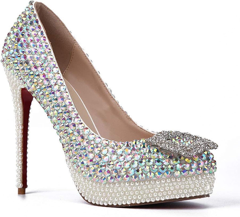 Lindarry Wedding Pumps for Women Pearls & colorful Rhinestones Decor 12cm Stiletto Closed Toe Slip on High Heel Platform Sandals Fashion (color   colorful, Size   3.5 M US)