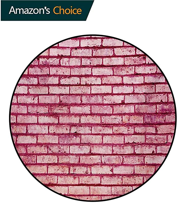 RUGSMAT Coral Non Slip Area Rug Pad Round Old Brick Wall Texture Image Rubble Rough Grunge Facade Construction Material Tile Protect Floors While Securing Rug Making Vacuuming Diameter 47 Inch