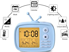 Alarm Clock for Kids, Digital Clocks for Bedrooms, Cute Alarmclock for Living Room, Wake Up Light, 5 Loud Alarms, Temperature Display, USB Charger, Birthday Children's Day Gifts for Teens Girls Boys